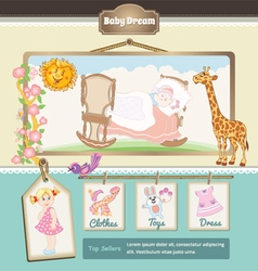 Retro baby background vector