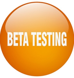 Beta testing orange round gel isolated push button vector