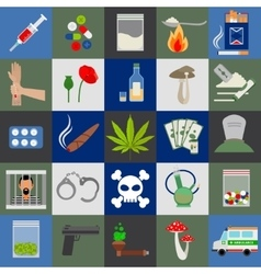 Alcohol drugs and tabac icons vector