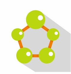abstract green molecules icon flat style vector image