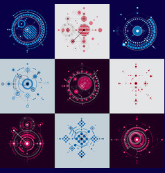 Bauhaus art set of decorative modular wallpapers vector