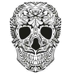 Black and white decoration human skull day of vector