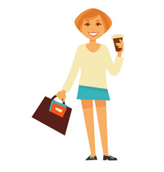 Cheerful woman with coffee vector