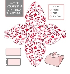 Christmas gift packaging template favor vector