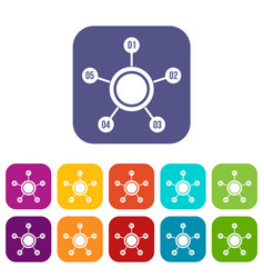 Circle chart with numbers icons set vector