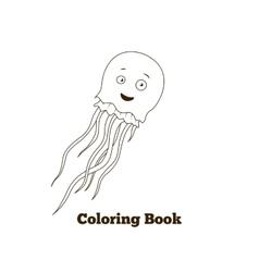 Coloring book jellyfish fish cartoon vector