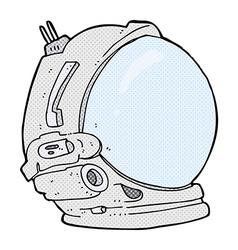 Comic cartoon astronaut helmet vector