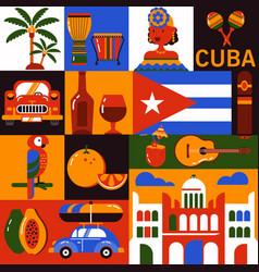 cuba havana tourism icons vector image vector image