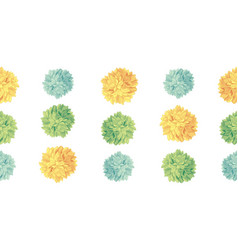 Cute yellow green birthday party paper pom vector