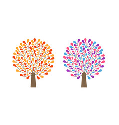 decorative tree with leaves nature ecology vector image vector image