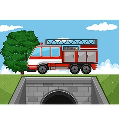 Fire truck on the road vector image vector image