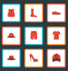 Flat icons gumshoes swimming trunk heeled shoe vector