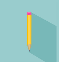 flat yellow pencil icon on blue background vector image