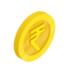 Gold coin with rupee sign icon isometric 3d style vector