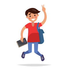 jumping brunette student with book and briefbag vector image
