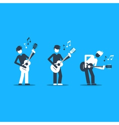 Music band playing live concert three guitarists vector