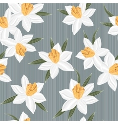 Seamless jonquil flower pattern background vector