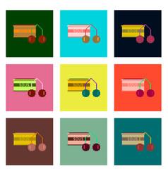 Set pixel icons of cherry sauce vector