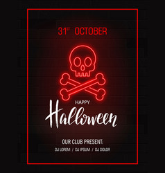 skull with bones neon signhappy halloween bright vector image