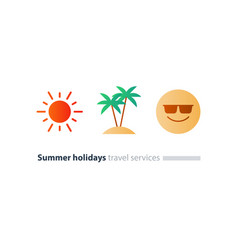 south vacation icon set season travel happy vector image vector image