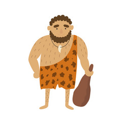 Stone age primitive man in animal hide pelt with vector