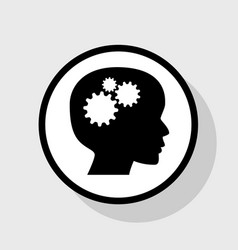 thinking head sign flat black icon in vector image vector image