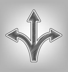 Three-way direction arrow sign pencil vector