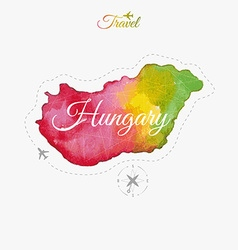 Travel around the world hungary watercolor map vector