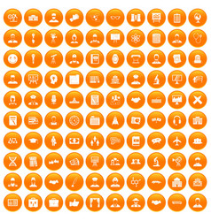 100 intelligent icons set orange vector