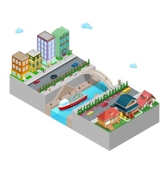 Isometric city with buildings bridge and river vector
