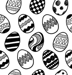 Doodle easter eggs pattern vector