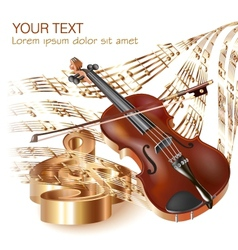 Classical violin on musical notes background vector