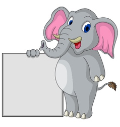Elephant cartoon with blank sign vector