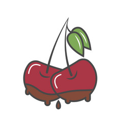 cherry in chocolate isolated icon vector image