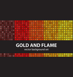 abstract pattern set gold and flame seamless vector image