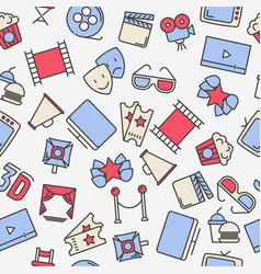 Cartoon cinema seamless pattern with thin icons vector