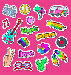 hippie lifestyle stickers badges and patches vector image