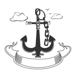 Marine emblem with ribbon vector