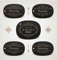 set of price tag or brand label with flourishes vector image