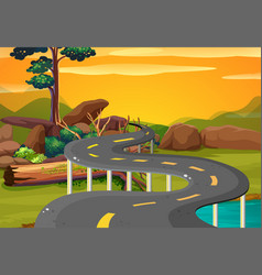 Scene with empty road at sunset vector