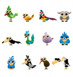 cartoon bird set vector image
