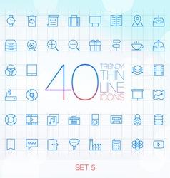 40 trendy thin icons for web and mobile set 5 vector