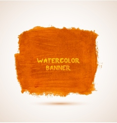 Abstract square orange watercolor hand-drawn vector
