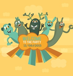 Five monsters the original invitation to a party a vector