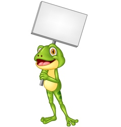 Cartoon adorable frog holding blank sign vector