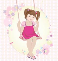 Swinging girl vector