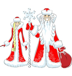 Father frost and the snow maiden vector