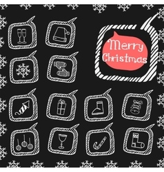 Christmas set icons doodle vector