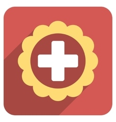 Medical sticker flat rounded square icon with long vector