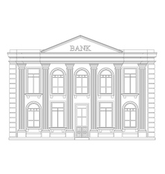 Bank building outline icon isolated elegant thin vector